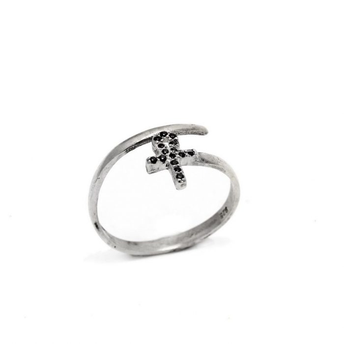 Egyptian Cross Ring Black Zircon